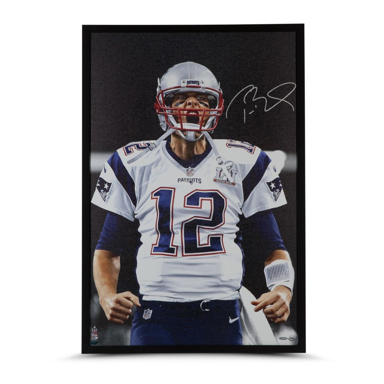 "premium selection 3dcdd 94723 Tom Brady New England Patriots Autographed 24""x36"" Canvas"