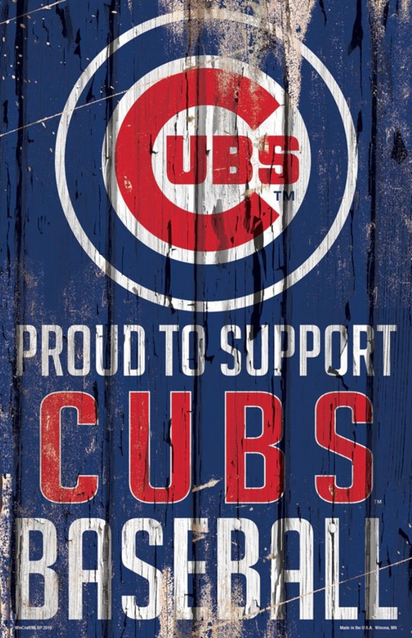 Chicago Cubs Proud To Support Mlb 11x17 Wood Slogan Sign
