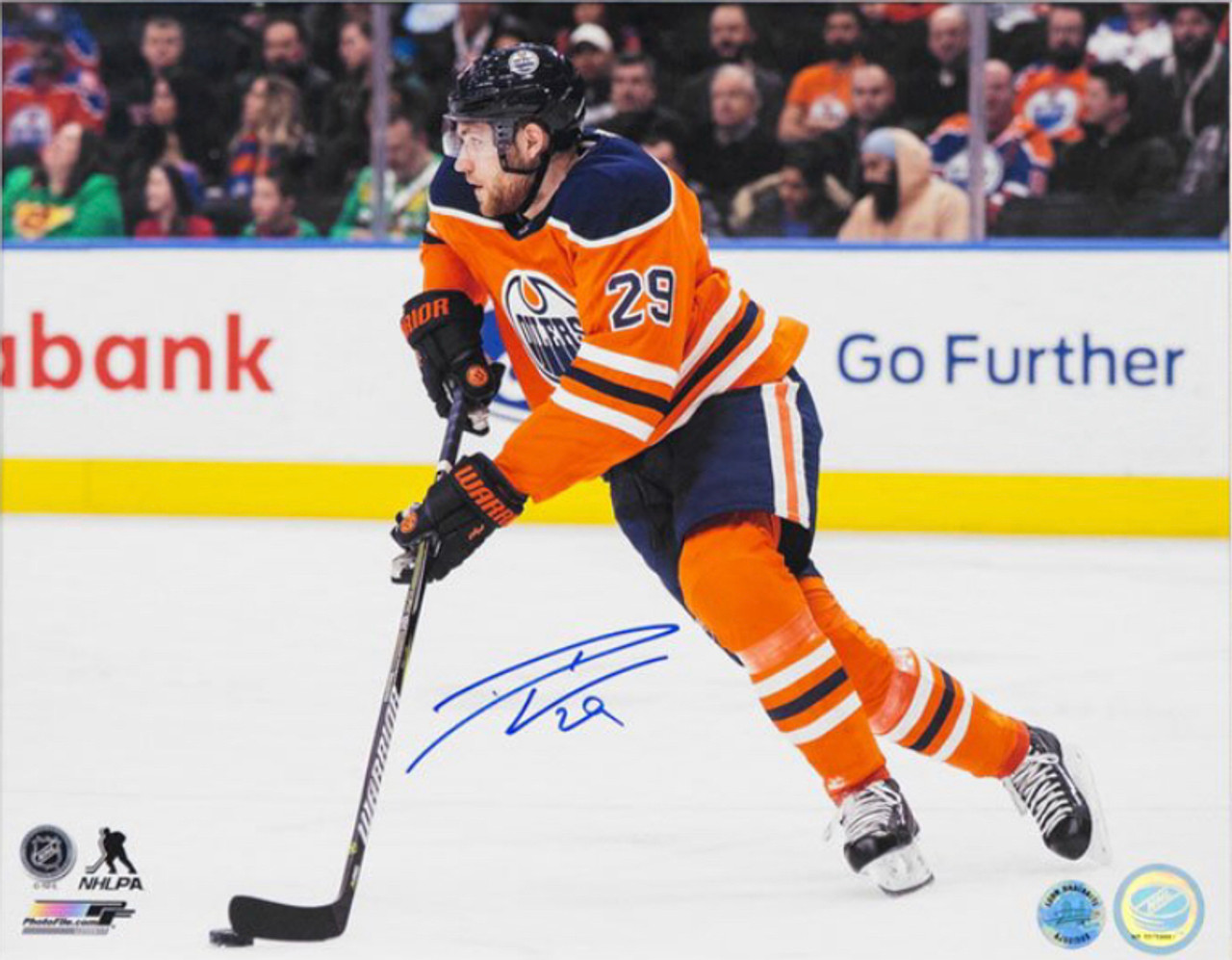 on sale 41df3 03fae Leon Draisaitl Edmonton Oilers Autographed Skating Up Orange Jersey 8x10  Photo