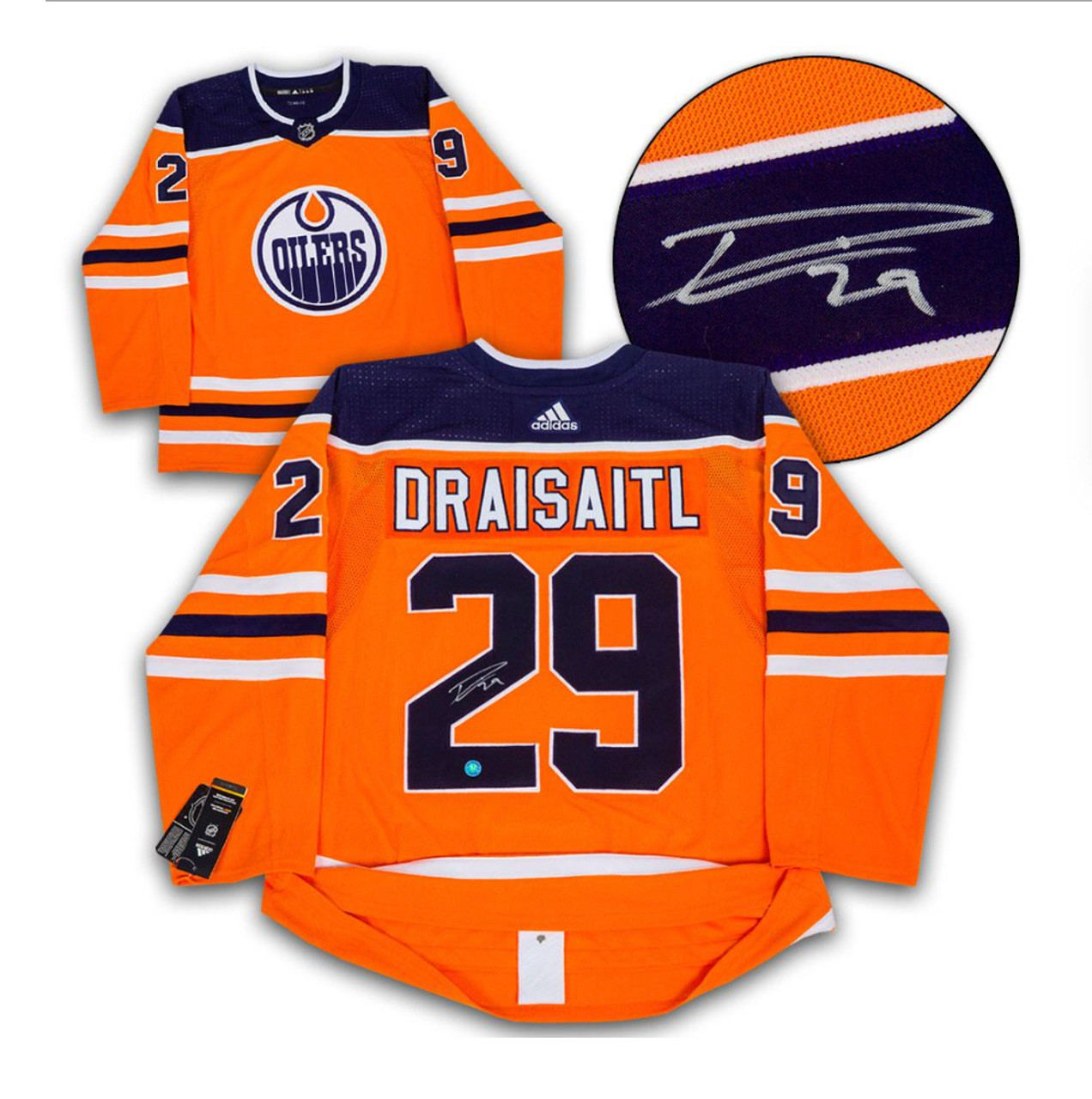 low priced 2db65 a2cfb Leon Draisaitl Edmonton Oilers Autographed Adidas Pro Authentic on Ice  Orange Home Jersey