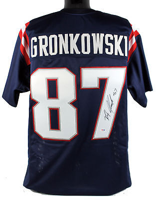 new styles 2195d a80bb Rob Gronkowski New England Patriots Autographed Blue Color Rush Custom  Football Jersey