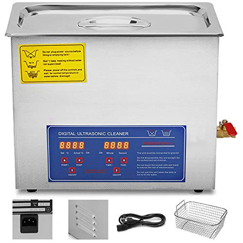 Durable stainless steel construction for durability The stainless steel with handle is tightly fitted to prevent heat from spreading. Drains with Flow Control Valve for easy cleaning and rinsing Ultrasonic cleaning and heating can work simultaneously. Large digital timer and temperature display The wide range of applications Tank Material: Stainless Steel SUS304 Heating Power: 50W/100W/200W/250W/400W/500W/600W Ultrasonic Power: 60W/120W/180W/240W/360W/480W/600W Frequency: 40kHz Power Supply: AC110V 60Hz Tank Capacity: 1.3 L/2L/3L/6L/10L/22L/30L Time Setting: 1 - 30 minutes (LED Digital Display) Temperature Setting: 0-80 degrees Celsius