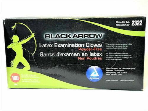 Black Arrow Latex Exam Gloves Powder Free / BOX OF 100