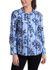 Striped Bell Sleeve Button Up Blouse~Blue Lineplace*MDOB0506