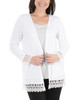 Open Front Lace Trim Cardigan~White*MHAR0251