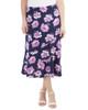 Ankle Length Elastic Waist Skirt~Navy Bloomdot*MITK0853