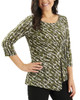 A-Symmetrical Pleated Front Top~Green Forestbia*MITU6399