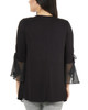 Ruched Bell Sleeve Open Front Cardigan~Black Mixcombo*MRSR0242