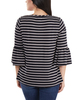 Striped Bell Sleeve Crochet Trim Detail Top~Navy Lunastripe*MRSU1802