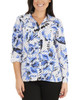 Floral Roll Tab Button Up Blouse~Blue Berrydot*MSTB1211