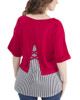 Petite Elbow Sleeve Lattice Back Detail Layered Top~Red Triplines*PFRU0202