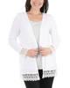 Petite Open Front Lace Trim Cardigan~White*PHAR0251