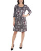 Petite 3/4 Sleeve Box Pleat Dress~Black Dottedtile*PITD3694