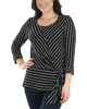Petite Striped Side Tie Round Neck Top~Black Thin Strp*PRSU1795