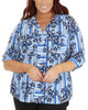 Plus Size 3/4 Sleeve Roll Tab Top With Zipper~Blue Lineplace*WCRU0523