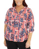 Plus Size 3/4 Sleeve Roll Tab Top With Zipper~Red Lineplace*WCRU0523