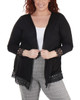 Plus Size Open Front Lace Trim Cardigan~Black*WHAR0251
