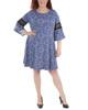 Plus Size Bell Sleeve Crochet Sleeve Trim Dress~Blue Basilica*WITD3693