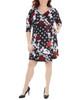 Plus Size Patchwork Tie Front Wrap Dress~Black Giofleur*WITD3695