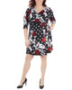 Plus Size Patchwork Tie Front Wrap Dress~Black Giofleur*WITD3695