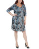 Plus Size Paisley Cross Ruching Dress~Aqua Partydot*WITD3697