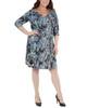 Plus Size Paisley Cross Ruching Dress~Aqua Partydot*WITD3697