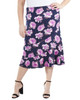 Plus Size Ankle Length Elastic Waist Skirt~Navy Bloomdot*WITK0853
