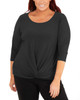 Plus Size 3/4 Sleeve Twist and Tie Front Top~Black*WITU6892