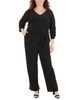 Plus Size Ruched Sleeve Sash Belt Jumpsuit~Black*WITU6932
