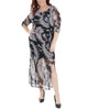 Plus Size Paisley Sleeve Double Slit Maxi Dress~Black Farinapais*WMED0195