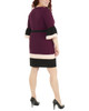 Plus Size Bell Sleeve Bodycon Color Block Dress~Grape Eilat*WNKD0445