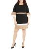 Plus Size Bell Sleeve Bodycon Color Block Dress~Jet Eilat*WNKD0445