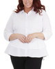 Plus Size Lace Detail Sleeve Peplum High-Low Button Up Blouse~White*WPLB0411