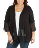 Plus Size Ruched Bell Sleeve Open Front Cardigan~Black Mixcombo*WRSR0242