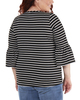 Plus Size Striped Bell Sleeve Crochet Trim Detail Top~Black Lunastripe*WRSU1802
