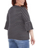 Plus Size Striped Bell Sleeve Crochet Trim Detail Top~Navy Lunastripe*WRSU1802