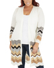 Plus Size Chevron Open Front Sweater Cardigan~Katia*WSSR1393