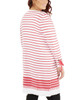 Plus Size Long Tie Sleeve Striped Open Front Cardigan~Aryn*WSSR1445