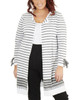 Plus Size Long Tie Sleeve Striped Open Front Cardigan~Kaylee*WSSR1445