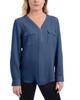 Long Sleeve Roll Tab Top With Zipper~Navy Blue*XCRU0497