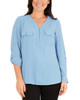 Long Sleeve Roll Tab Top With Zipper~Silver Lake Blue*XCRU0497