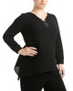 Plus Size Triple Metal Ring Sharkbite Hem Top~Black*ZCJU0225
