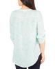 Petite 3/4 Sleeve Y Neck Front Pleated Top~Aqua Inkpaisley*PRJU0555