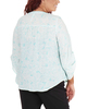 Plus Size 3/4 Sleeve Y Neck Front Pleated Top~Aqua Inkpaisley*WRJU0555