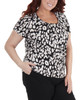 Plus Size Pleated Front Short Sleeve Top with Hardware Trim~Black Funcat*WITU6000