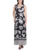 Wrap Front Maxi Dress with Hardware Belt Trim~Black Stripepais*MITD3766