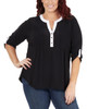 Plus Size Color Block Roll Tab Top~Black Yingyang*WITU6821