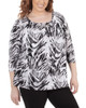 Plus Size 3/4 Sleeve Front Pleated Top with Hardware Trim~Black Zebrabia*WITU7074