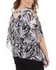 Plus Size Slit Sleeves V Neck Back Strap Poncho~Black Zebraduo*WCCF0358