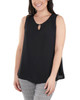 Sleeveless Keyhole Tank with Hardware Trim~Black*MDOU1893
